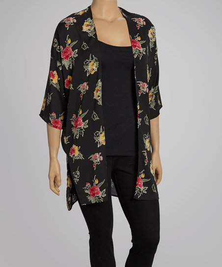 Black Sheer Floral Open Cardigan - Plus