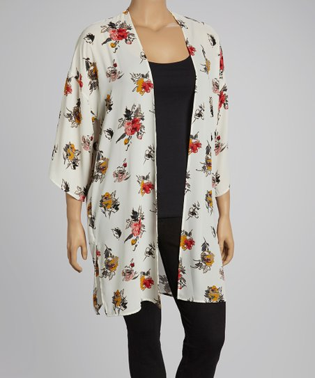 Ivory Sheer Floral Open Cardigan - Plus