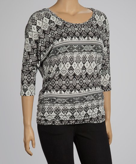 Black & Gray Tribal Scoop Neck Top - Plus