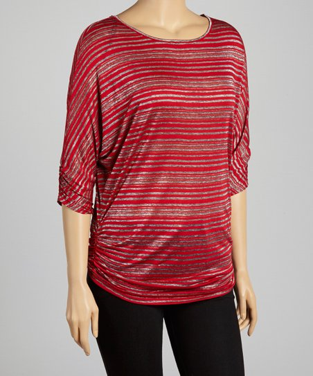 Red Sheer Stripe Top - Plus