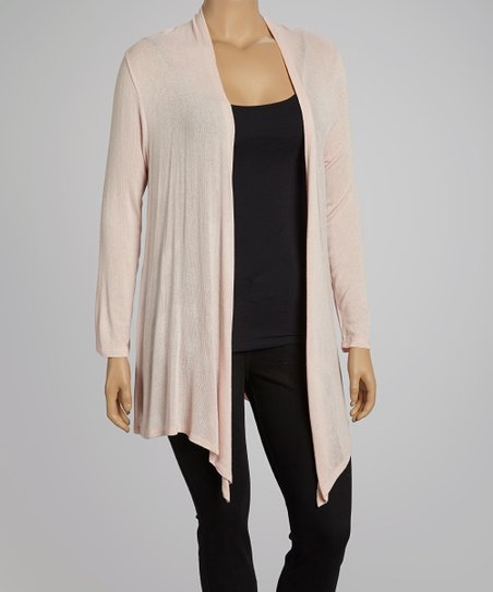 Peach Open Cardigan- Plus