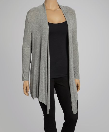 Heather Gray Open Cardigan- Plus