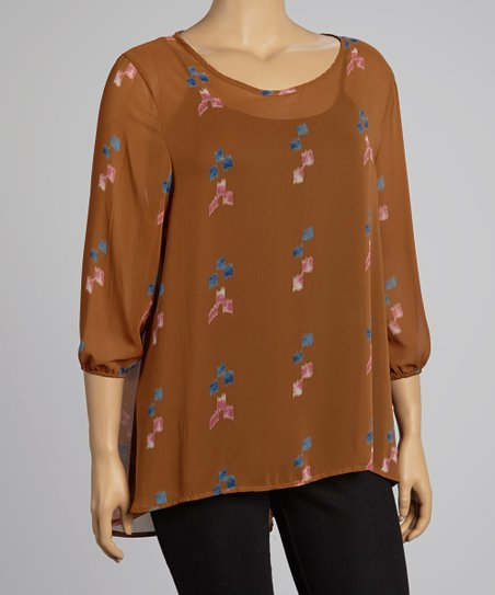 Brown Sheer Digital Top - Plus