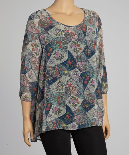 Blue & Purple Sheer Floral Patchwork Top - Plus