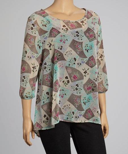 Mocha & Blue Sheer Floral Patchwork Top - Plus
