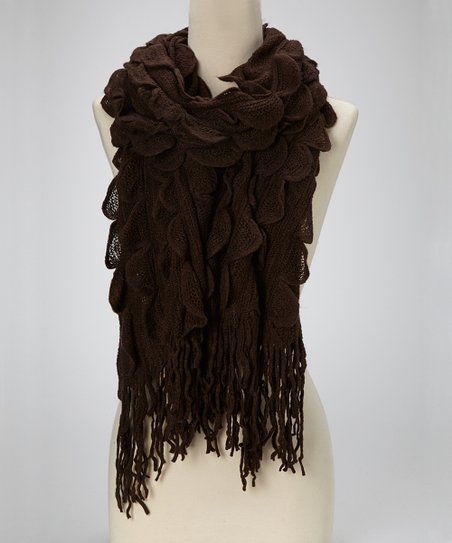 Brown Scalloped Scarf