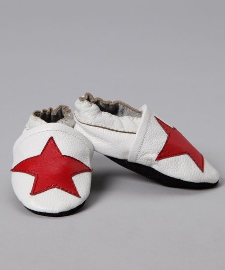 White & Red Star Booties