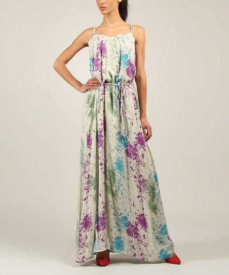 Blue & Purple Splatter Maxi Dress