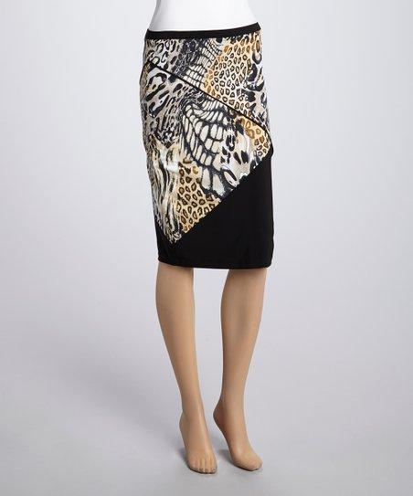 Tan & Black Animal Panel Skirt