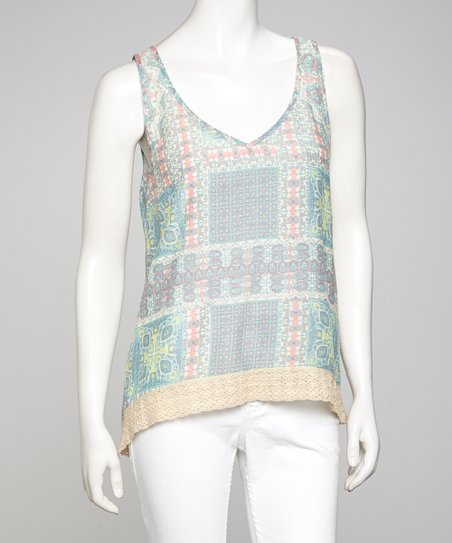 Gray & Pink Crisscross Back Tank