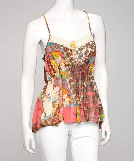Brown & Fuchsia Floral Tank
