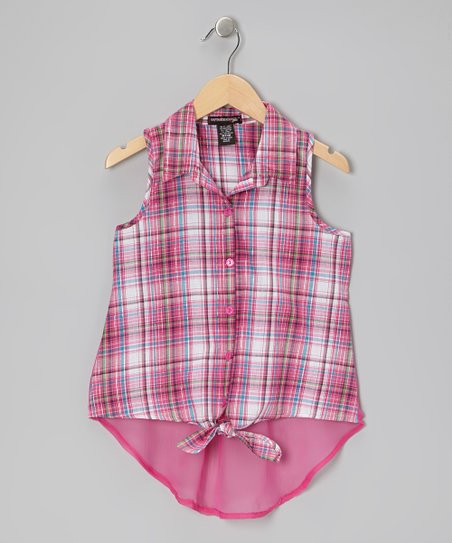 Fuchsia Plaid Tie Sleeveless Button-Up