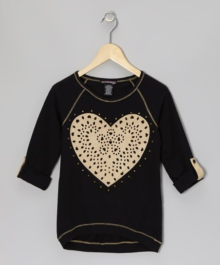 Black & Beige Heart Raglan Top - Girls