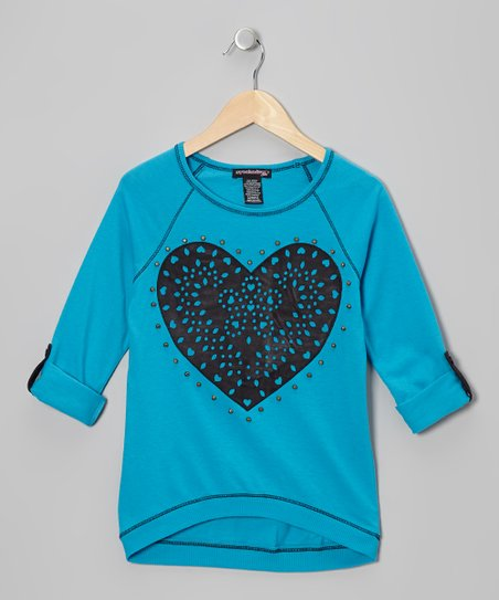 Blue Topaz & Black Heart Raglan Top - Girls