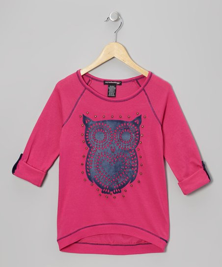 Watermelon Owl Raglan Top - Girls