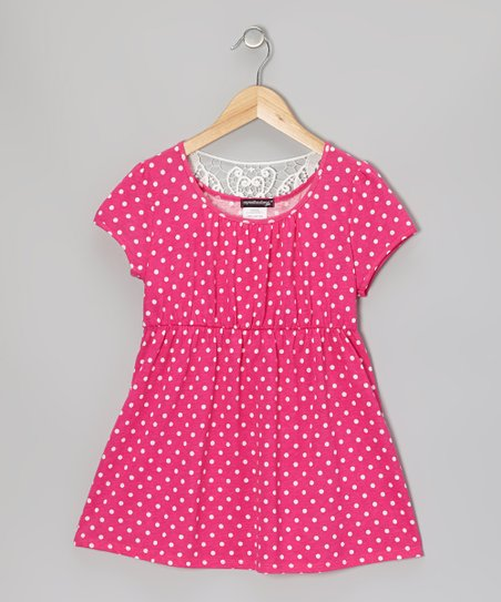 Fuchsia & White Polka Dot Lace-Back Dress - Girls