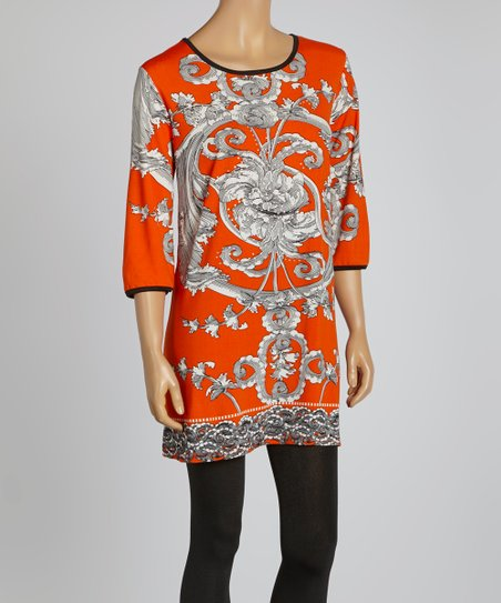 Orange Floral Three-Quarter Sleeve Dress