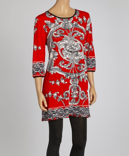 Red Floral Three-Quarter Sleeve Dress