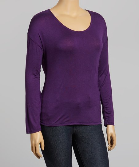 Purple Cutout Scoop Neck Tee - Plus