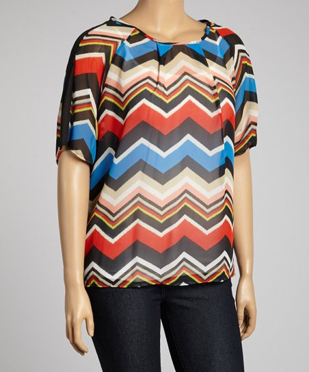 Red Sheer Zigzag Dolman Tunic - Plus