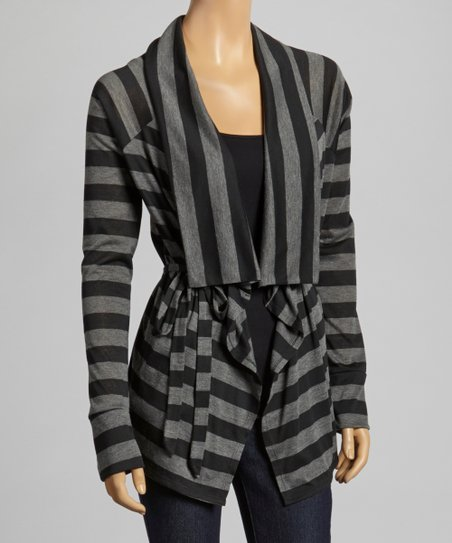 Black & Charcoal Stripe Tie Cardigan