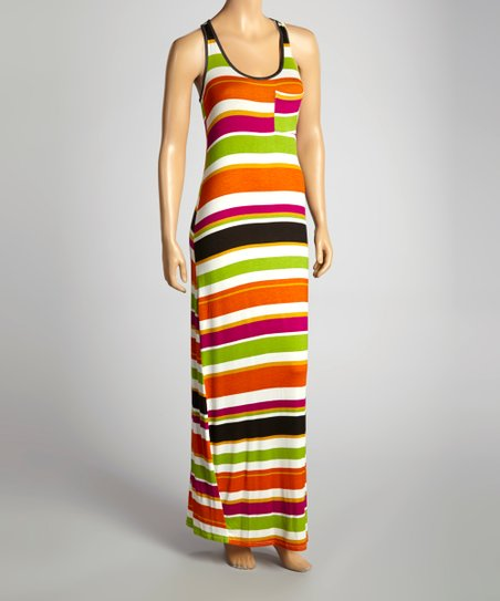 Saffron & Green Stripe Maxi Dress