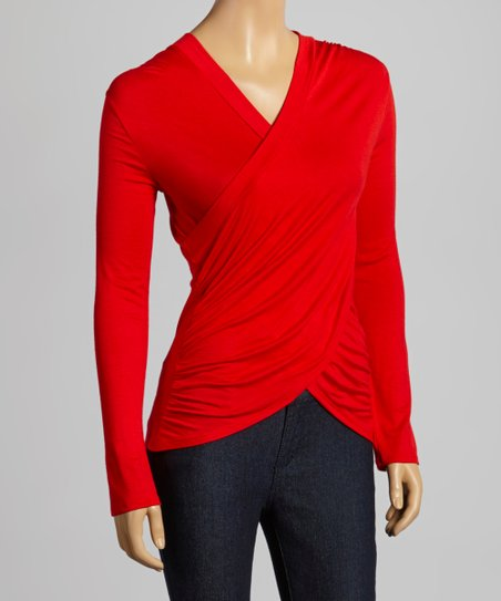 Red Drape Surplice Top