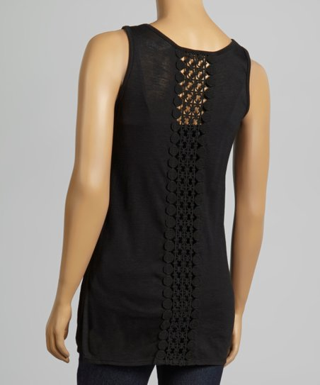 Black Crochet-Back Scoop Neck Top