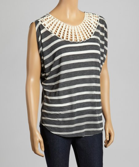 Charcoal & White Stripe Cutout Top