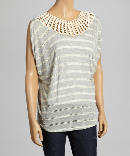 Heather Gray Stripe Cutout Top