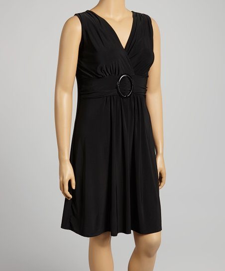 Black Sleeveless Surplice Dress - Plus