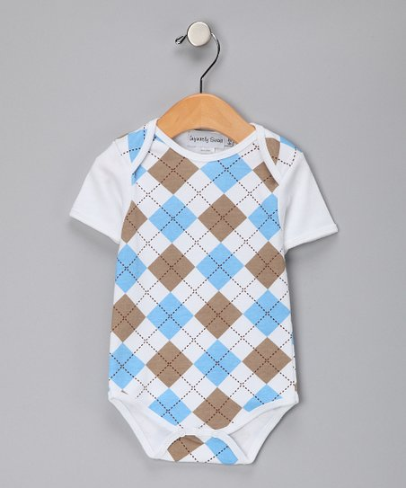 Blue & Khaki Argyle Bodysuit - Infant
