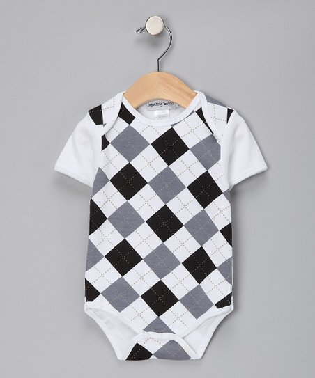 Gray & Black Argyle Bodysuit - Infant