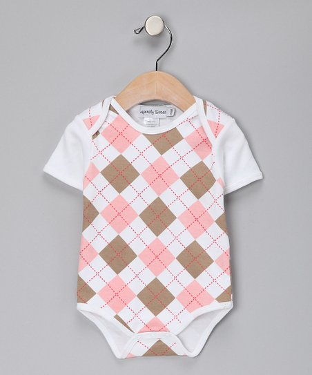 Pink & Khaki Argyle Bodysuit - Infant