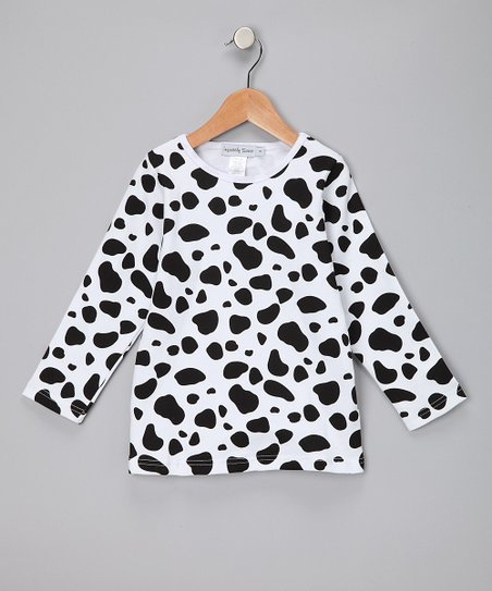 Black & White Cow Long-Sleeve Tee - Girls