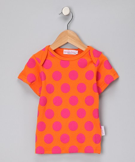 Orange & Hot Pink Polka Dot Tee - Girls