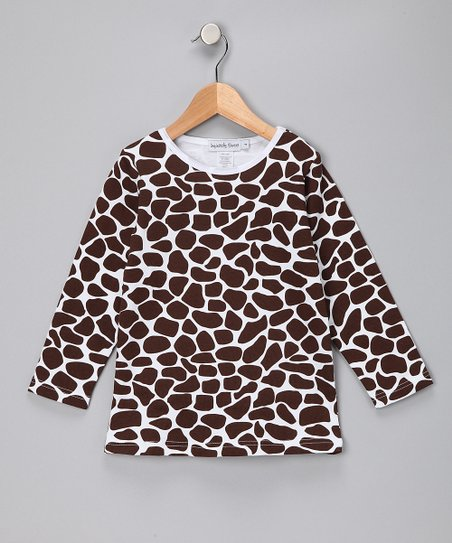 Brown Giraffe Long Sleeve Tee - Girls