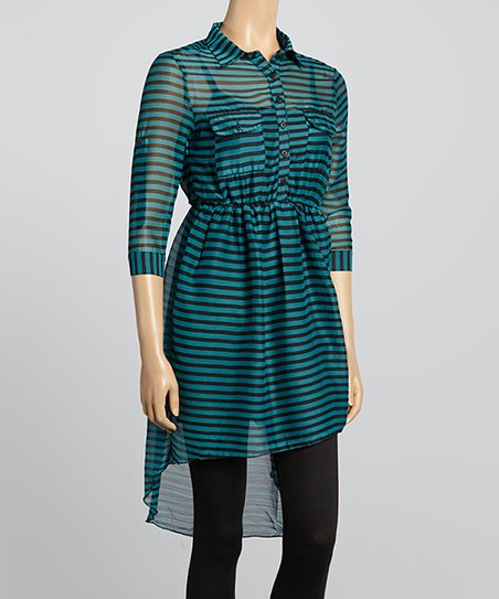 Teal & Black Stripe Shirt Dress