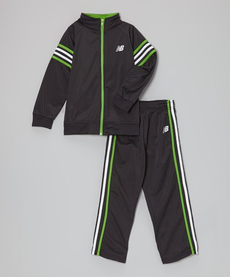Black & Lime Stripe Track Jacket & Pants - Infant, Toddler & Kids