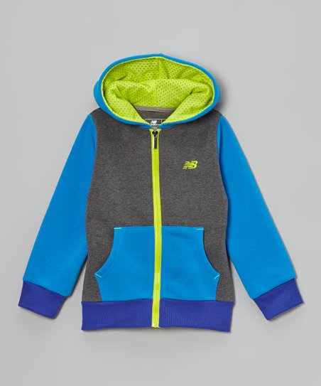 Turquoise & Gray Raglan Zip-Up Hoodie - Girls