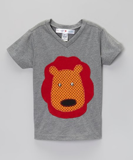 Gray & Orange Lion V-Neck Tee - Infant, Toddler & Boys