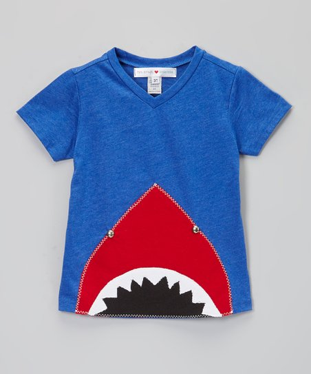 Royal Blue & Red Shark V-Neck Tee - Infant, Toddler & Boys