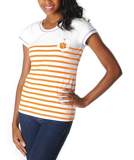 Clemson Tigers Stripe Pocket Tee - Women