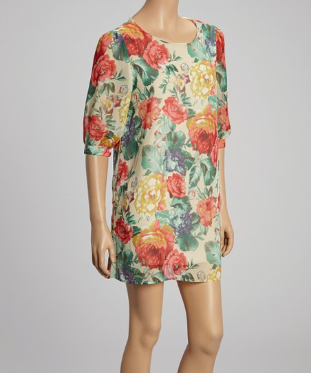 Ivory Floral Shift Tunic