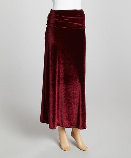 Burgundy Velvet Maxi Skirt