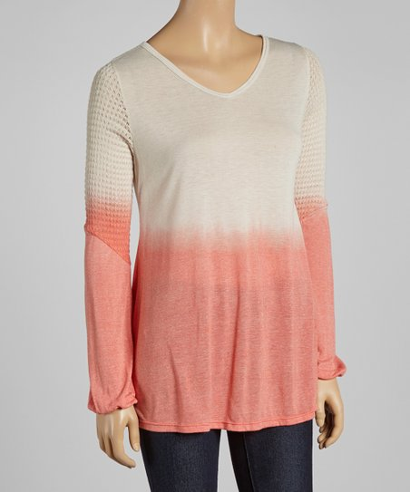 Beige & Coral Ombré V-Neck Top