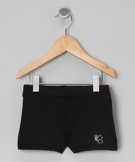 Black Rhinestone Shorts - Girls