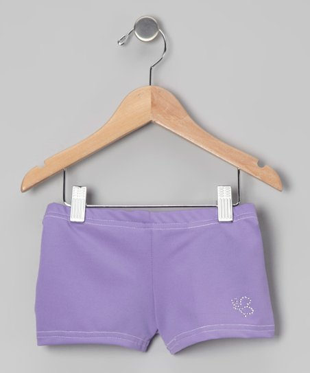 Lavender Rhinestone Shorts - Girls