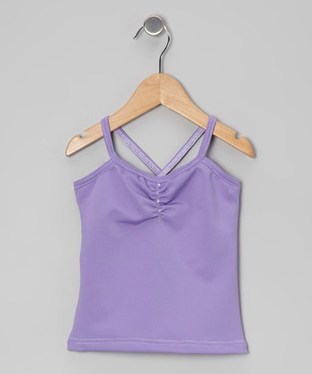 Lavender Rhinestone Pinch Pleat Camisole - Girls