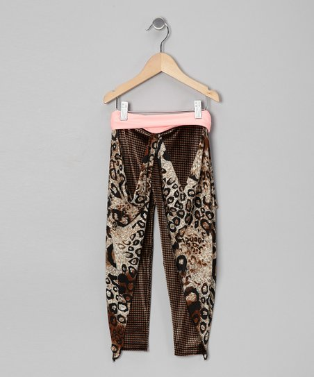Coral Houndstooth Cheetah Gaucho Pants